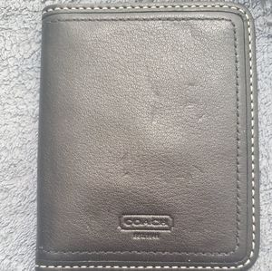 COACH BLACK LEATHER TRAVEL PICTURE FRAME